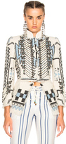 Roberto Cavalli Woven Jacket in White,Blue,Abstract.