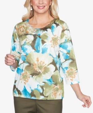 Alfred Dunner Women's Plus Size Colorado Springs Embellished Floral Top