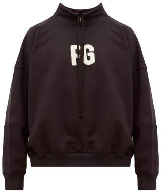 Fear Of God Logo Applique Mock Neck Cotton Sweatshirt - Mens - Black