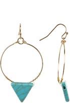 Cara Accessories Turquoise Triangle Hoop Dangle Earrings