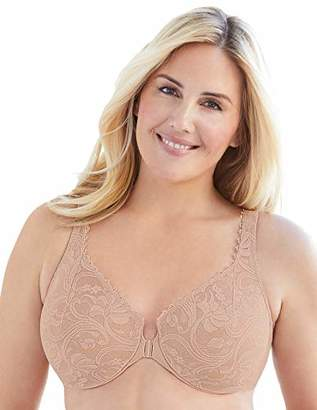 Glamorise Women's Full Figure Wonderwire Front Close Stretch Lace Bra #9245
