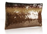 bronze ombre trimmed sequined clutch