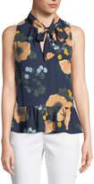 Joie Estero Tie-Neck Sleeveless Floral-Print Silk Top