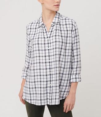 LOFT Plaid Hi-Lo Tunic Shirt