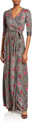 Melissa Masse Floral Animal Print Long Brushed Sweater Knit Wrap Dress