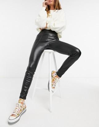New Look leather look legging in black