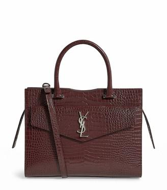 Saint Laurent Medium Croc-Embossed Leather Uptown Tote Bag