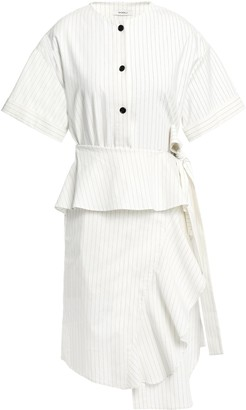 GOEN.J Asymmetric Ruffled Pinstriped Linen-blend Mini Dress