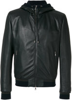 Dolce & Gabbana leather hooded jacket - men - Lamb Skin/Polyamide/Polyester/Virgin Wool - 50