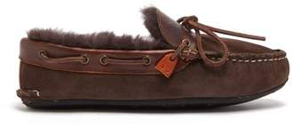 Quoddy Fireside Shearling-lined Suede Slippers - Mens - Dark Brown