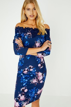 Paper Dolls Pasadena Blue Floral Bardot Dress