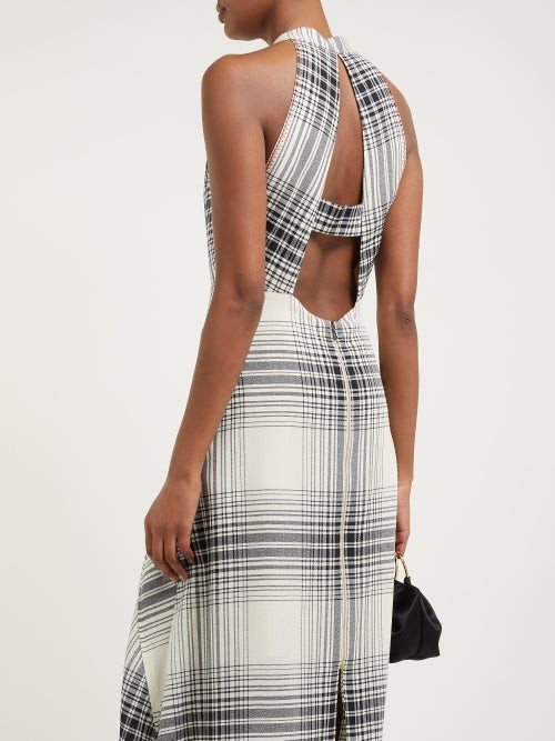 Thumbnail for your product : Roland Mouret Amador Checked Wool-crepe Midi Dress - Black White