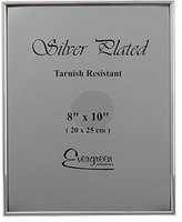 Evergreen Tarnish Resistant Silver Plated Thin Edge Photo/Picture Frame, 8x10 inch