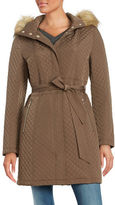 Ivanka Trump Faux Fur-Trimmed Quilted Coat