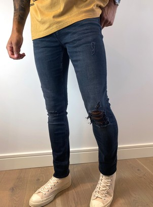 Topman BIG & TALL Blue and Grey Ripped Stretch Skinny Jeans