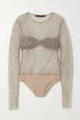 ZEYNEP ARCAY Polka-dot Flocked Corded Lace And Jersey Bodysuit - Black