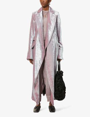 Phaedo Bell-sleeve stretch-silk top