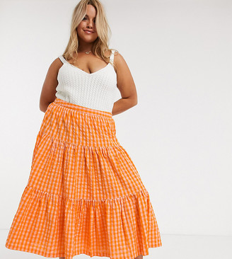 ASOS DESIGN Curve tiered gingham midi skirt in orange