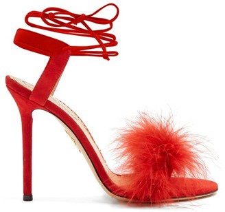 Charlotte Olympia Salsa Feather-embellished Suede Sandals - Womens - Red