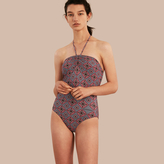Burberry Geometric Tile Print Halter-neck Swimsuit