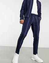 Asos DESIGN two-piece skinny smart pants in navy pinstripe