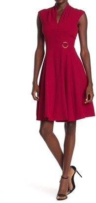 London Times Crepe Cap Sleeve Fit & Flare Dress