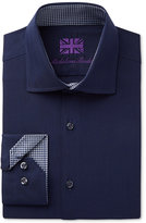 Michelsons of London Men's Slim-Fit Navy and Blue Herringbone Dress Shirt