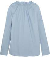 Marni Gathered Cotton-poplin Top - Blue
