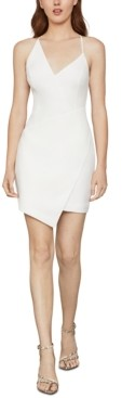 BCBGMAXAZRIA Asymmetrical Faux-Wrap Mini Dress