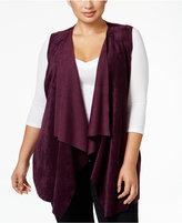 Calvin Klein Plus Size Faux-Suede Knit Vest
