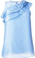 Carven diagonal pleated detail blouse - women - Silk/Polyester/Acetate - 38