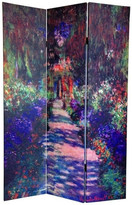 Oriental Furniture 6' Double Sided Works of Monet Canvas Room Divider, Lilies/Garden at G