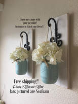 Etsy Set of 2 Mason Jar Sconces, Mason Jar Wall Decor, Country Decor, Hanging Mason Jar Sconce, Mason Jar