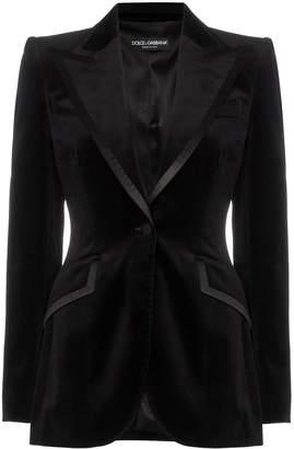 Dolce & Gabbana satin trim fitted velvet blazer jacket