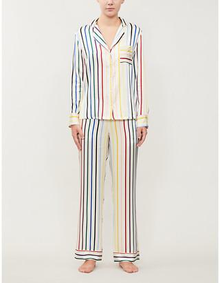 Chinti and Parker Striped silk-satin pyjama set