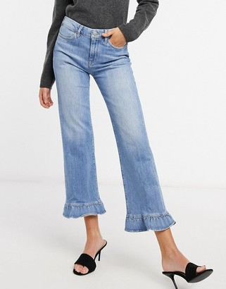 MiH Jeans Lou wide leg frill hell jeans in blue