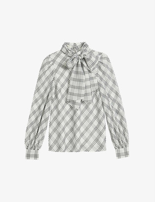 Ted Baker Oanaa check pussybow shell blouse