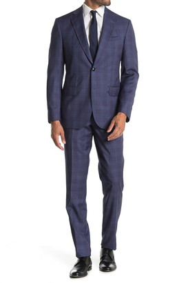 Ted Baker Jay Blue Plaid Two Button Notch Lapel Trim Fit Wool Suit