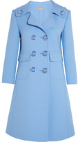 Michael Kors Double-breasted Wool-blend Gabardine Coat - Light blue