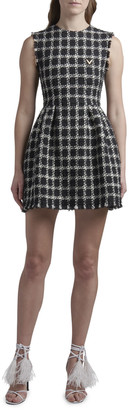 Valentino Fitted Check Tweed Dress