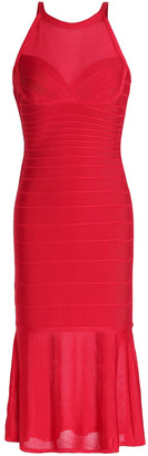 Herve Leger Stretch Knit-paneled Bandage Midi Dress