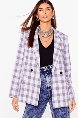 Nasty Gal Womens Checking You Out Oversized Double Breasted Blazer - Lilac