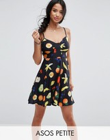 Asos Skater Sundress In Fruit Print