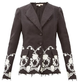 Brock Collection Floral-embroidered Tweed Jacket - Womens - Black