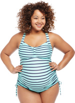 Motherhood Plus Size Cross Back Maternity Tankini Swimsuit