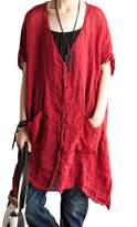 Mordenmiss Women's Summer Cotton Linen Short Sleeve Blouses