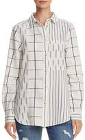 French Connection Mixed-Print Button-Down Shirt