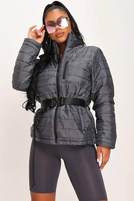 I SAW IT FIRST Dark Grey Zip Front Padded Jacket