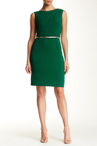 Ellen Tracy Cap Sleeve Belted Midi Dress