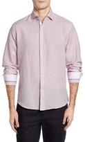 Stone Rose Men's Trim Fit Geo Print Linen Blend Sport Shirt